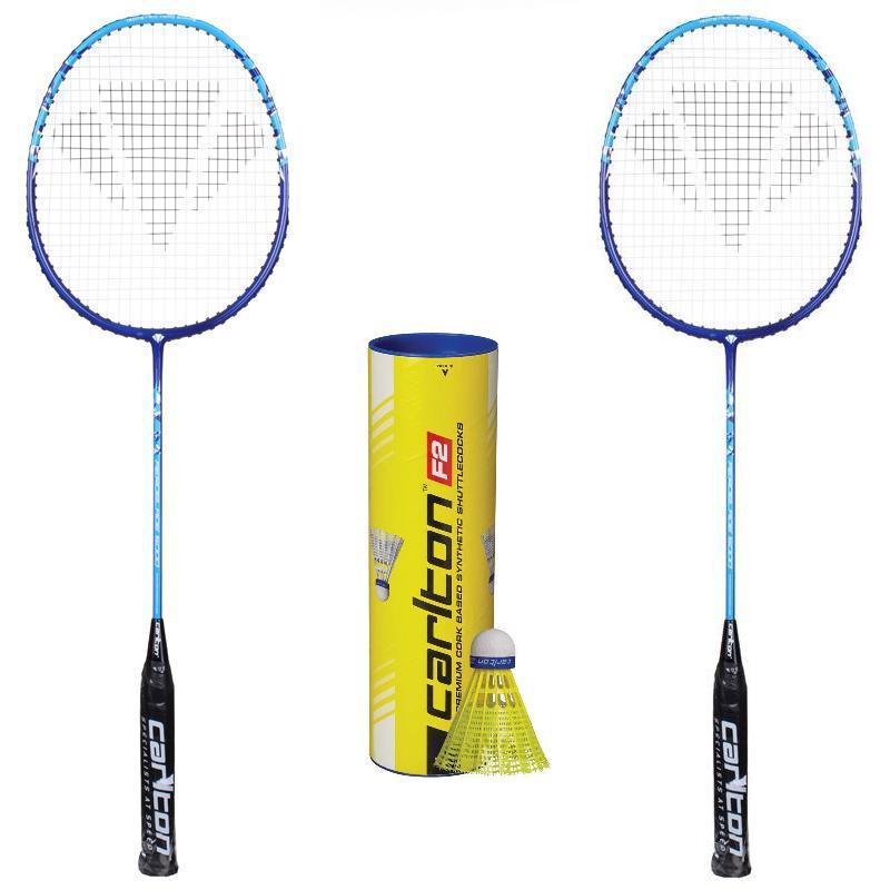 Carlton Aeroblade 5000 Blue badmintonová raketa (výhodný set 2ks) + míče Carlton F2 Yellow (střední/modrý)