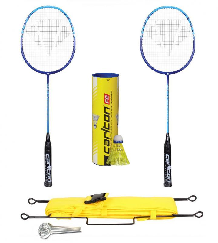 Carlton Aeroblade 5000 Blue badmintonová raketa (výhodný set 2ks) + míče Carlton F2 Yellow (střední/modrý) + Merco lajny na badmintonový kurt