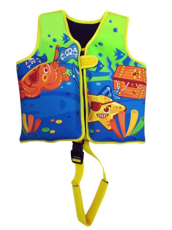 Dětská neoprenová plovací vesta Pirates žlutá 18-30 kg