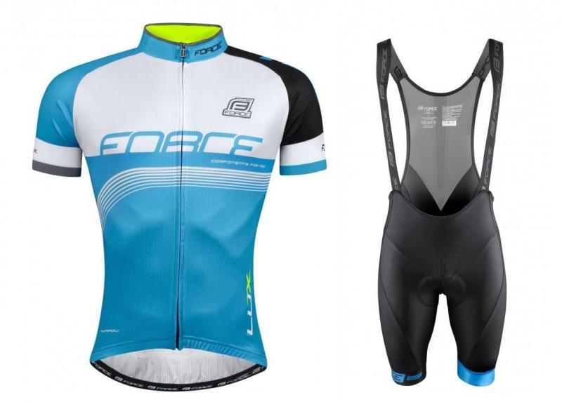 Force LUX modro-černo-bílý dres + Force B51 černo-modré cyklokraťasy - XS