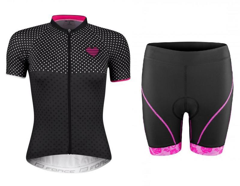 Force POINTS černo-růžový dres - kr. rukáv + Force ROSE černo-růžové cyklokraťasy - M