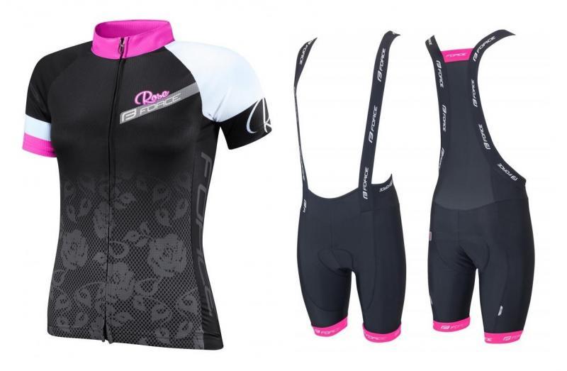 Force ROSE černo-růžový dámský dres + Force B45 LADY černo-růžové kalhoty - černo-růžový XS