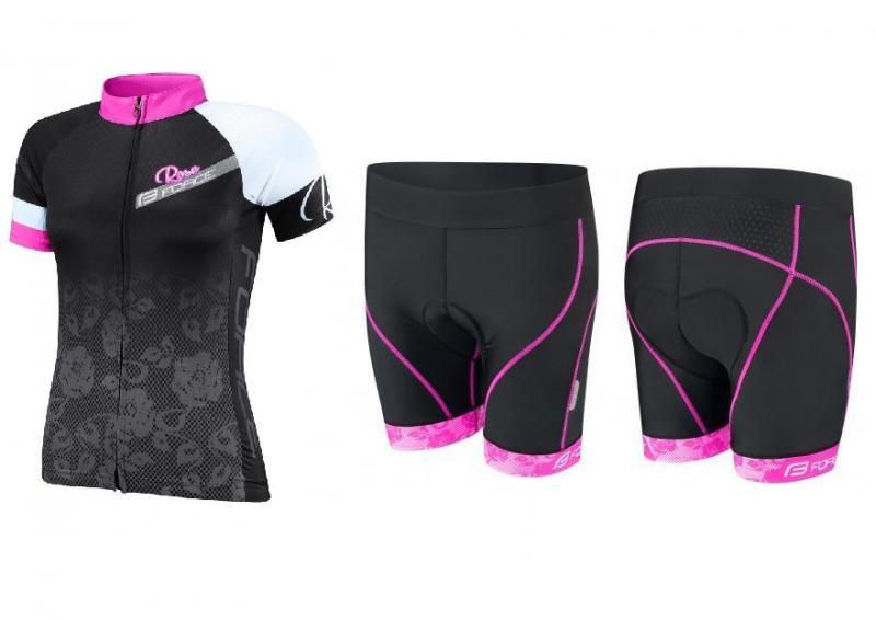 Force ROSE černo-růžový dres + Force ROSE černo-růžové cyklokraťasy - černo-růžový XS