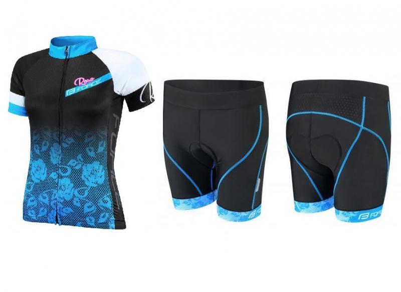 Force ROSE Lady černo-modrý dres + Force ROSE černo-modré cyklokraťasy - L