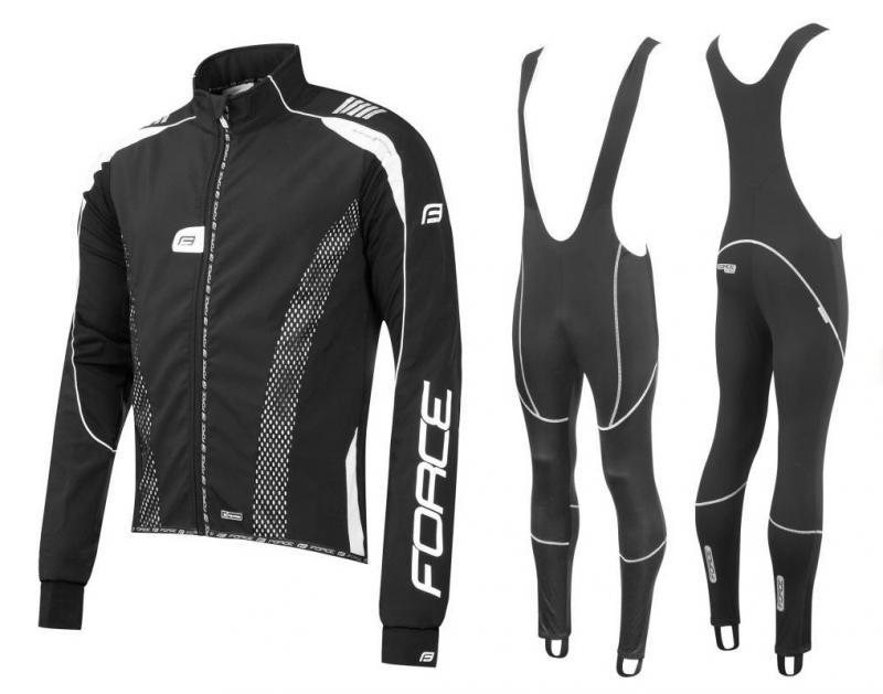 Force X72 PRO černo-bílá softshell bunda + Force Z70 SOFTSHELL kalhoty - M