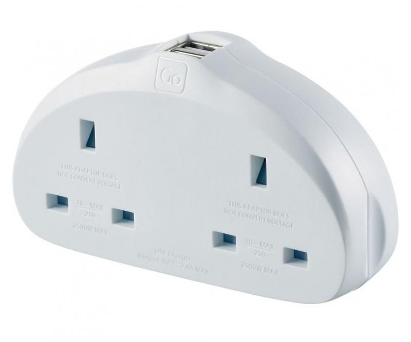 Go Travel adaptér UK/Evropa Duo s USB