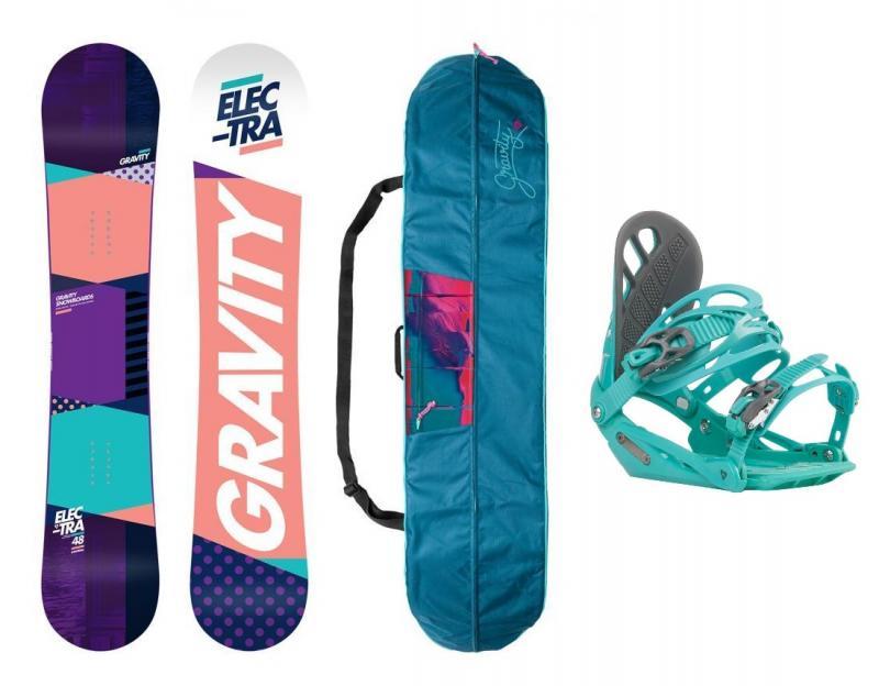 Gravity Electra 18/19 dámský snowboard + vázání Gravity G1 Lady mint + obal na snb (výhodný set) - 144 cm + M (EU 38-42)