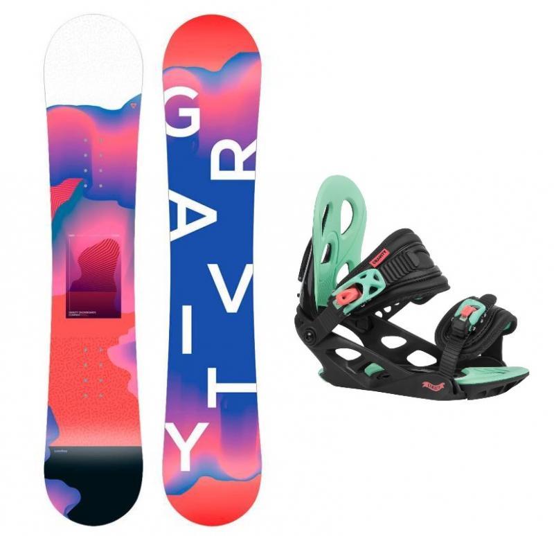 Gravity Fairy 19/20 dětský snowboard + Gravity G1 Jr black/pink/teal vázání - 130 cm + S (EU 32-37)
