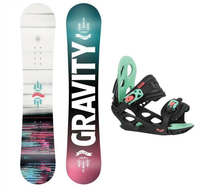 Gravity Fairy 20/21 dětský snowboard + Gravity G1 Jr black/pink/teal vázání - 130 cm + S (EU 32-37)
