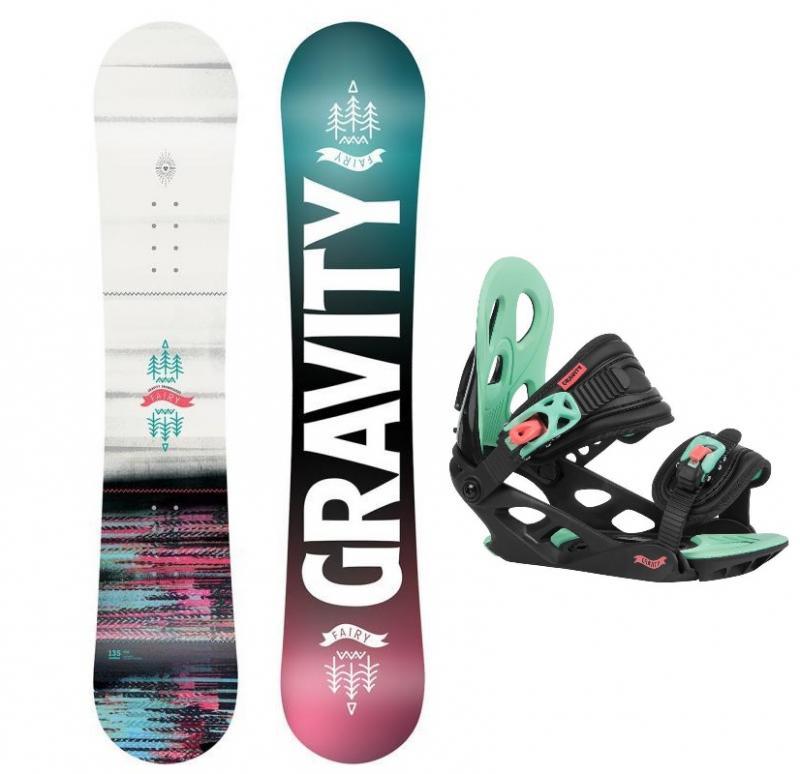 Gravity Fairy mini 20/21 dětský snowboard + Gravity G1 Jr black/pink/teal vázání - 120 cm + S (EU 32-37)