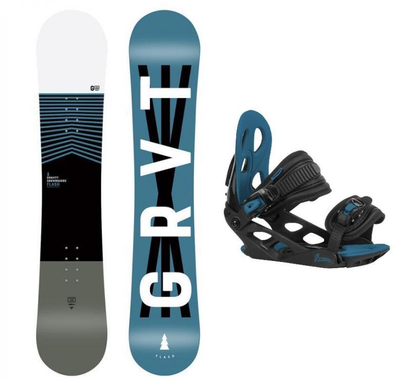 Gravity Flash 20/21 dětský snowboard + Gravity G1 Jr black/blue vázání - 130 cm + S (EU 32-37)