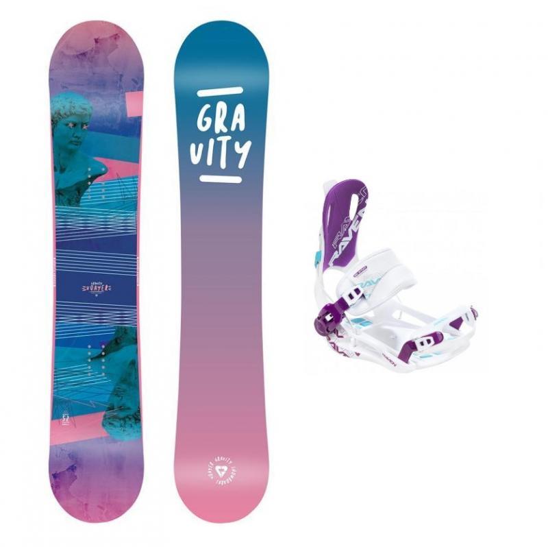 Gravity Voayer 20/21 dámský snowboard + Raven FT 270 white/violet vázání - 142 cm + M (EU 39-42)