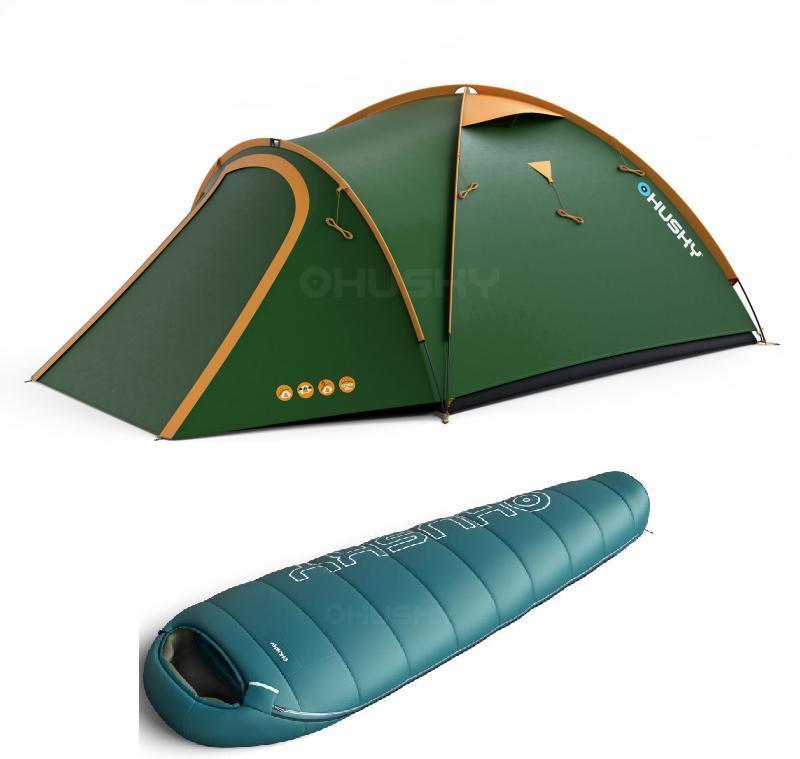 67623e9ff Husky Bizon 4 classic zelený turistický stan + Husky Mikro Mini 0°C modrý  spací