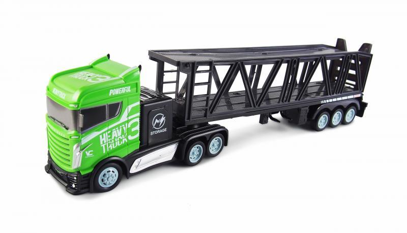 Kamion s autopřepravníkem 2WD, 1:16, bohaté příslušenství, semafor, radar, 3 autíčka, RTR