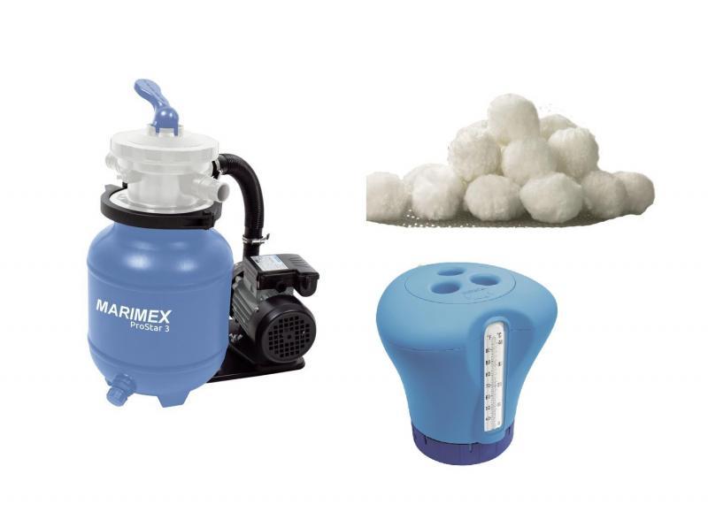 Marimex Filtrace písková ProStar 3 - 3,8 m3/h + Aquamar balls 2x 450 g + Plovák teploměrem - oranžový