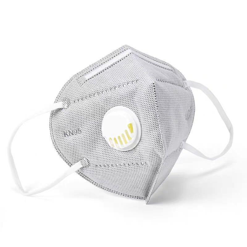 Kvalitní ústenka v designu respirátoru s ventilem FFP2 antracitová barva