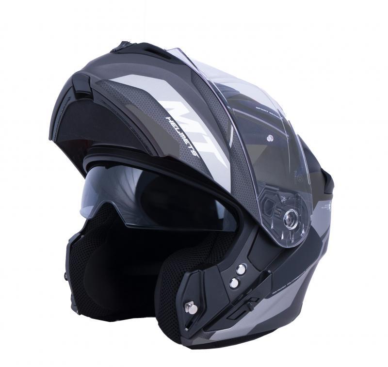 MT Helmets Vyklápěcí přilba na motorku Storm ST-ONE černo-šedá + sleva 300,- na příslušenství - XS: 53-54 cm