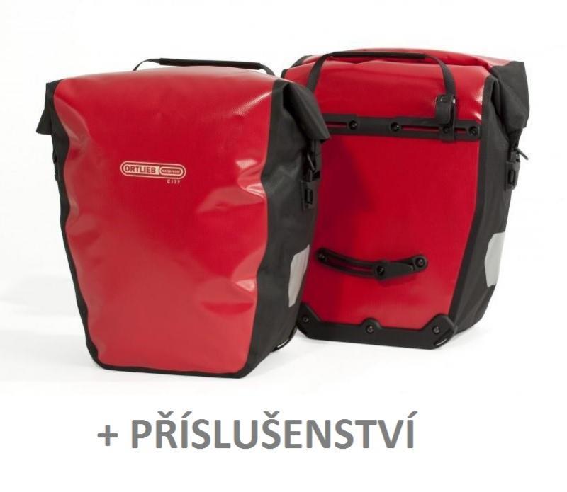 Ortlieb Back-roller City vodotěsné zadní brašny + příslušenství 3 ks - červená