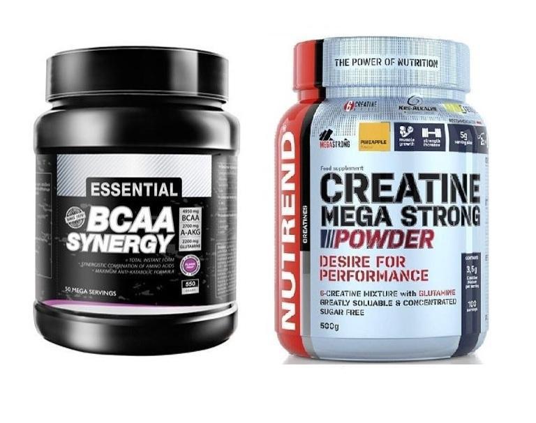 PROM-IN BCAA Synergy 550g + Nutrend Creatine Mega Strong Powder 500g - višeň