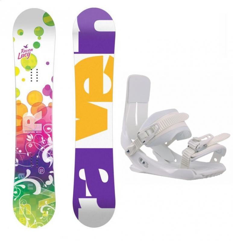 Raven Lucy CAP dívčí snowboard + Sp Junior 180 White vázání - 138 cm + white XS/S - EU 32-36