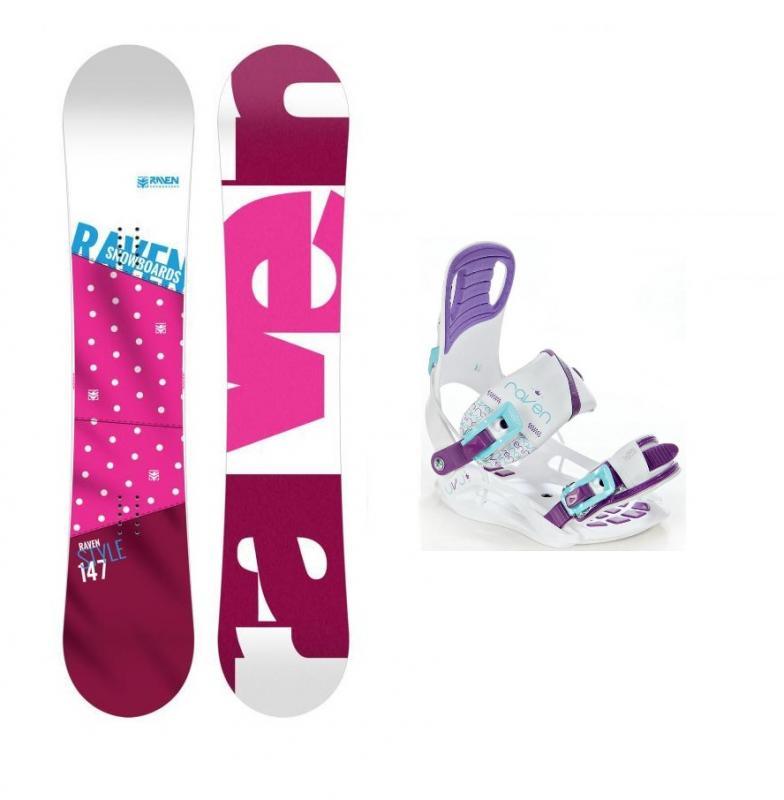 Raven Style Pink 2018 dámský snowboard + vázání Raven Starlet White - 144 cm + S (EU 35-39)