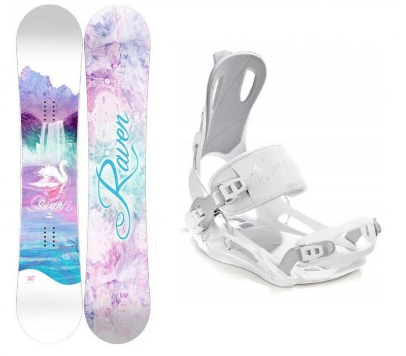Raven Swan dámský snowboard + Raven FT 270 white vázání - 144 cm + M (EU 39-42)