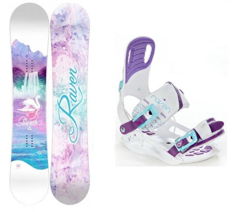 Raven Swan dámský snowboard + Raven Starlet White/Blue/Violet vázání - 144 cm + S (EU 35-39)