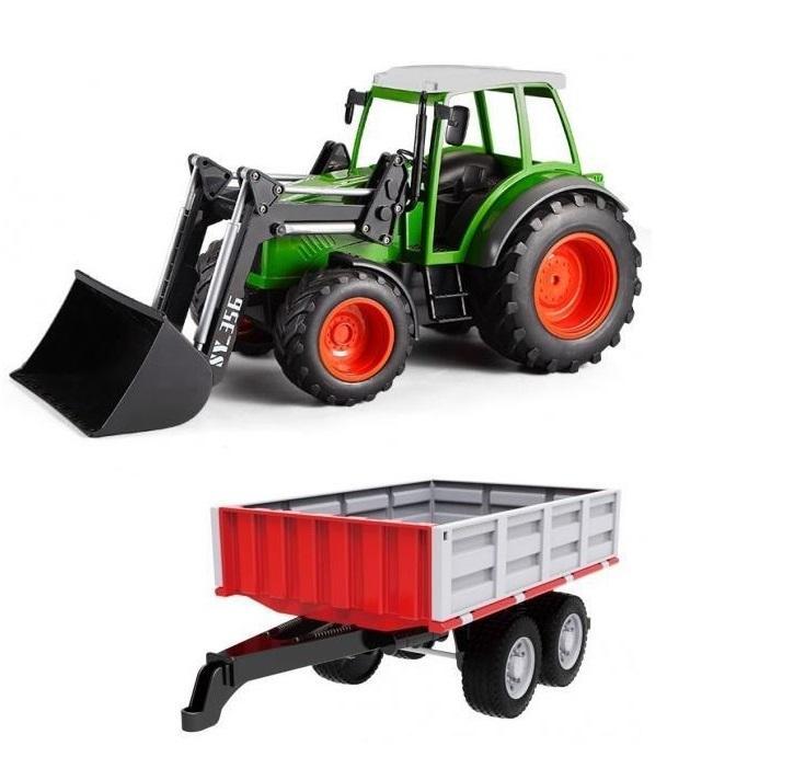 Traktor s funkčním čelním nakladačem 1:16 + Sklápěcí valník 1:16