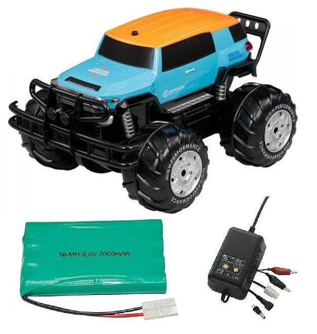 Vodotěsný CRUISER 1/10 - obojživelné RC auto + 1x náhr. baterie 2000mAh + 1x rychlonabíječka