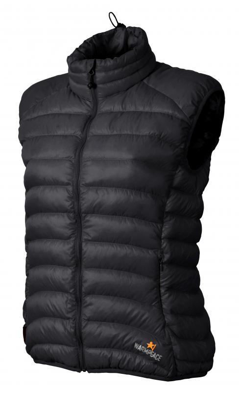 Warmpeace Swan lady péřová vesta petrol - XS black - černá