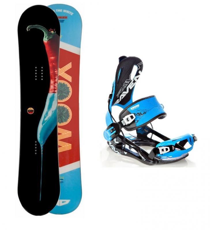 Woox El quemador snowboard + vázání Raven Fastec FT 270 blue - 150 cm + XL (EU 43-46)